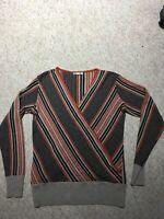 Artigiano Ladies Wool/Cashmere Mix V Neck Wrap Striped Jumper Size M VGC