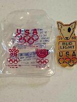 1988 Olympics Spuds Mackenzie Bud Light Lapel Pin with original packaging