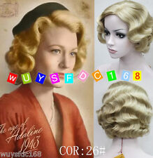 2017 New Retro wave short Blonde wig Vintage Finger Waves Synthetic Hair Wig