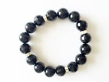 Black Agate stone ,Faceted Ball & Crystal Spacer Stretch Bracelet