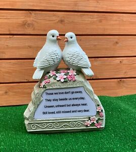 Two Birds on Rock LED Lighting Plaque Grave cemetery memorial ornament