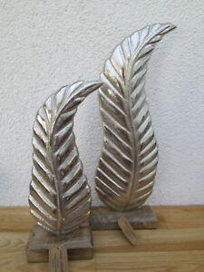 Aufsteller Blatt aus Metall - Silber auf Mangoholz Sockel Deko  Wohnen  Holz