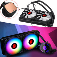 240mm CPU Water Liquid Cooler Cooling Radiator With 2 RGB LED Fans For Inter AMD