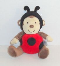 Carters Baby Brown Monkey Plush Dressed as Red Ladybug #93105 EUC P93