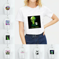 Harajuku Funny Alien T Shirt O Neck Short Sleeve Women Loose Basic Tee Tops Gift