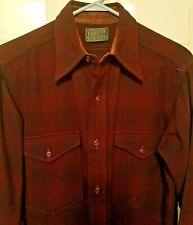 VTG Mens Pendleton Red Plaid LS Button Up 100% Virgin Wool Shirt Sz 15  Neck