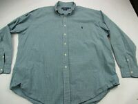 Ralph Lauren Mens Blake Shirt Blue Green Check Long Sleeves Pocket Extra Large