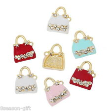 Charm Pendants Handbag Gold Plated Random Clear Rhinestone Enamel 5PCs