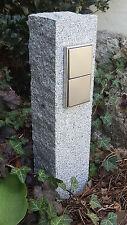 Doppelte Gartensteckdose in Granitpalisade, Edelstahl, Außensteckdose, gestockt