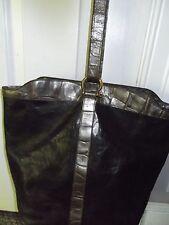 Vintage Furla Italy Gorgeous Black w/Pewter Croc Leather Classic Bucket Bag-NICE