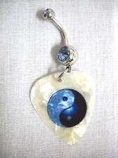 NEW BABY BLUE & DARK BLUE YIN & YANG PEARLY WHITE GUITAR PICK BLUE CZ NAVEL RING