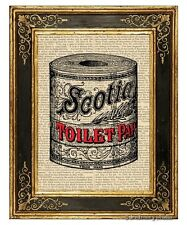 Toilet Paper Art Print on Vintage Book Page Home Bathroom Hanging Decor Fun Gift