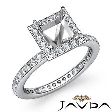 Halo Pave Diamond Anniversary Ring Princess Shape Semi Mount 14k W Gold 0.55Ct