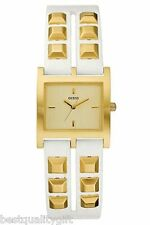 NEW GUESS WHITE LEATHER STRAP WITH GOLD TONE STUDS+DIAL WATCH-W85090L1
