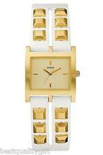 Nuovo Guess Bianco pelle Cinturino con Color Oro Borchie + Dial WATCH-W85090L1