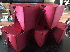 Nwt Lot Of 5 Pier 1 Dark Red Satin Chinese Take Out Gift Boxes Wedding / Favors
