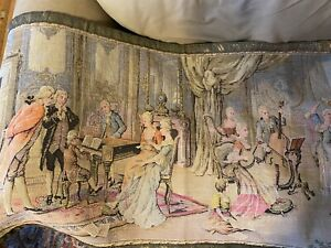 """Large 47"""" x 25"""" TAPESTRY Wall Hanging """"Music Parlor Scene"""" - French Woven"""