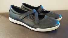 ECCO Womens casual shoes SZ 38 7 7.5 blk leather flats walking comfort sneakers