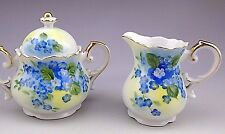 Vintage Blue Flowers Porcelain Lefton Sugar Bowl and Creamer