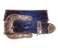 Brown Rhinestone Croco Patent Genuine Leather Snap On Buckle Belt M SM