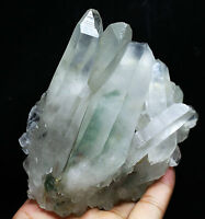 143g Clear and Beautiful Green Ghost Quartz Crystal Cluster Mineral Specimen