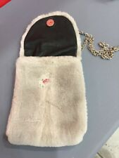 6x4´´ GRAY SAPPHIRE MINK FUR BAG HANDBAG PURSE FULL LEATHER IPHONE CASE CHAINE