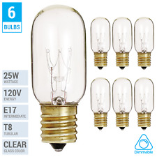 (6 Pack) 25T8/N T8 Microwave Refrigerator Bulb 25W Intermediate E17 Sign Clear