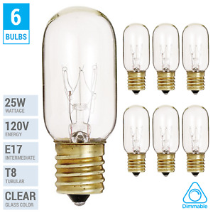 (6 Pack) 25T8/N T8 Microwave Refrigerator Bulb 25W Intermediate E17 Sign Clear