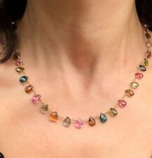 14K Yellow Gold Pink Yellow Green Multi Tourmaline Briolette Artizan Necklace