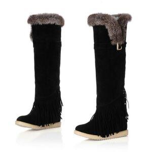 Women Flats Winter Snow Low Heel Knee High Boots Ladies Fur Top Riding Shoes D