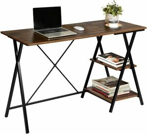 MEUBLE COSY Home Office Furniture Computer Corner Workstation with 2 Shelves PC