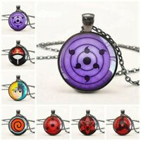 Anime Naruto Sharingan Time Gemstone Glass Pendant Chain Necklace Cosplay Great