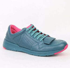 New Gucci Men's Contrast Leather Fringe Sneakers Teal Pink 368482 4418