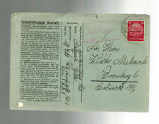 1941 Germany Auschwitz Concentration Camp Cover KZ to Bromberg Victor Makowski