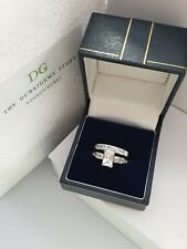 Silver emerald cut eternity set created diamond free postage size K gift boxed