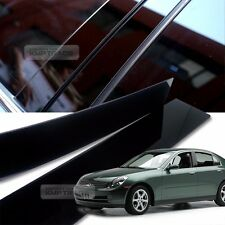 Glossy Black B C Pillar Post UV Coating Cover Trim 6Pcs For INFINITI 02-06 G35