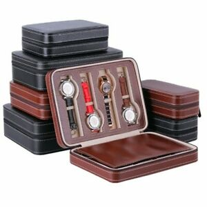 Men'S Watch Gift Boxes Casket Portable Travel PU Leather Storage Case Organizer