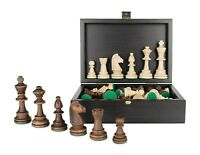 "Tournament Staunton Chess Pieces in Wooden Black Box - 3.9"" King"