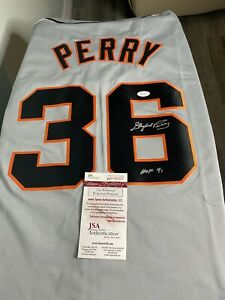 Gaylord Perry autographed jersey JSA COA authenticated - HOF 91 Inscription