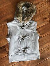 Mudd Girls Size Large 14 Gray Sweatshirt Hooded Vest Faux Fur Zip Up