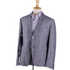 NWT $1695 BELVEST Ultralight Blue-White Patterned Linen-Cotton Sport Coat 42 R
