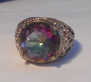 Massive Mystic Topaz Fancy Silver Ring - size 10 1/2 - U 1/2