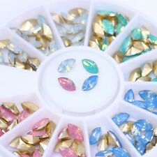 Marquise Opal Nail Rhinestones Multi-color 3D Nail Decoration Wheel Tip