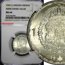 SWEDEN Gustaf V Silver 1942 G 1 Krona NGC MS64 WWII TOP GRADED BY NGC KM# 814