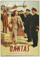QANTAS 1950s TRAVEL VINTAGE REPRO NEW A1 CANVAS GICLEE ART PRINT POSTER