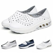 Hollow Out Womens Breathable Slip On Loafers Wedge Pumps Walking Comfort Shoes L