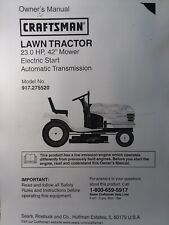 Sears Craftsman Lt2000 23.0 Hydro 42 Lawn Tractor Owner &Parts Manual 917.275520