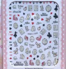 ALICE in wonderland DISNEY 3D nail art sticker cheshire cat white rabbit