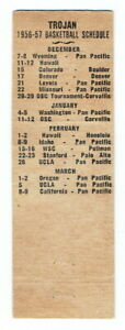 SOUTHERN CAL TROJANS ~ 1956-57 Matchbook Basketball Schedule ~ FREE SHIPPING