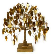 Mid Century Twisted Wire Gold leaf Shimmering Kinetic Tree Vintage Art Sculpture